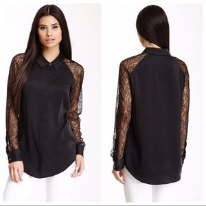 Equipment Quinn Contrast Lace Sleeves Silk Blouse
